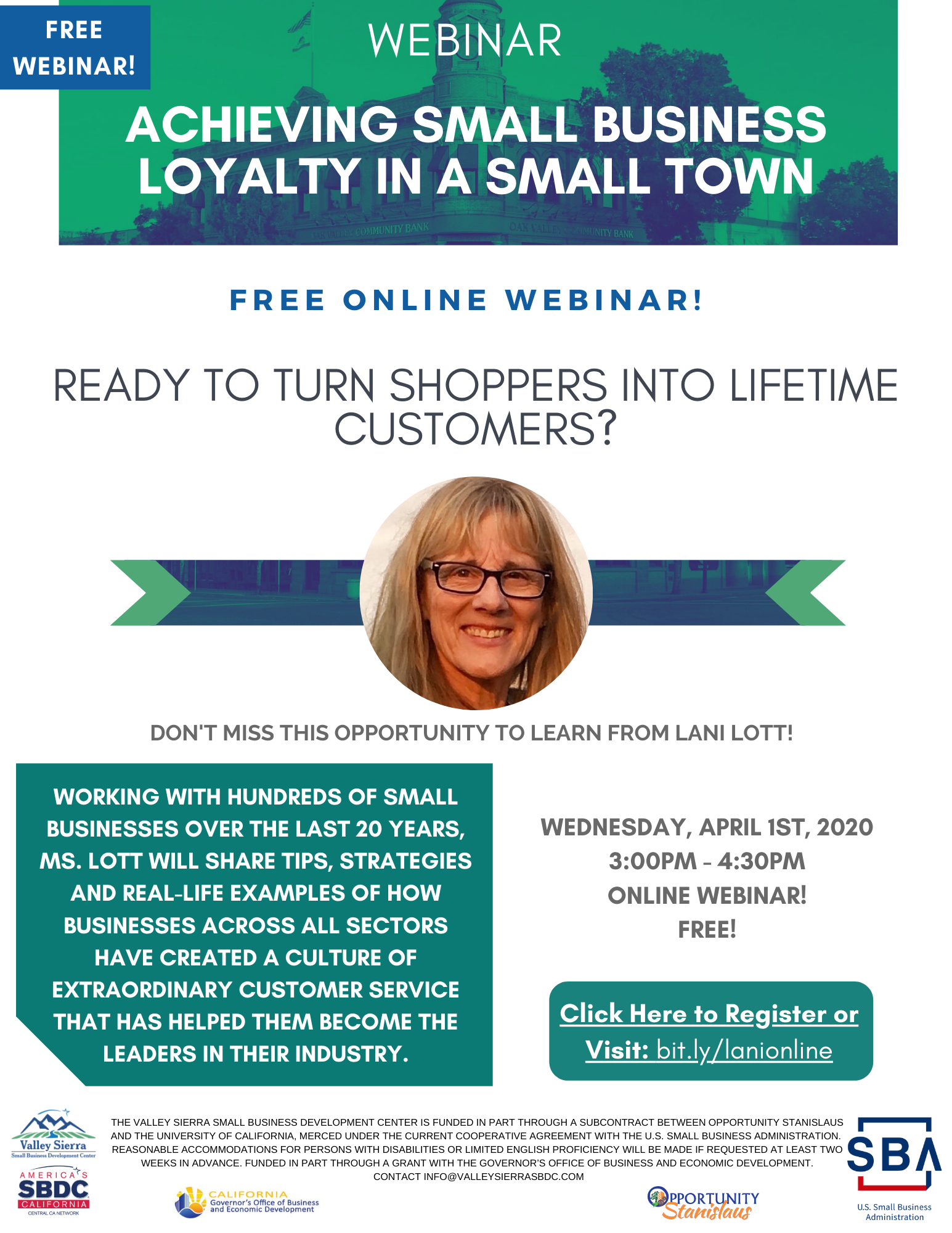 Event Flyer, Webinar: Small Business Loyalty in a Small Town - 4/1 3pm - 4:30pm. FREE