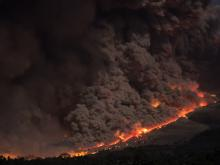 aerial photo of wildfire